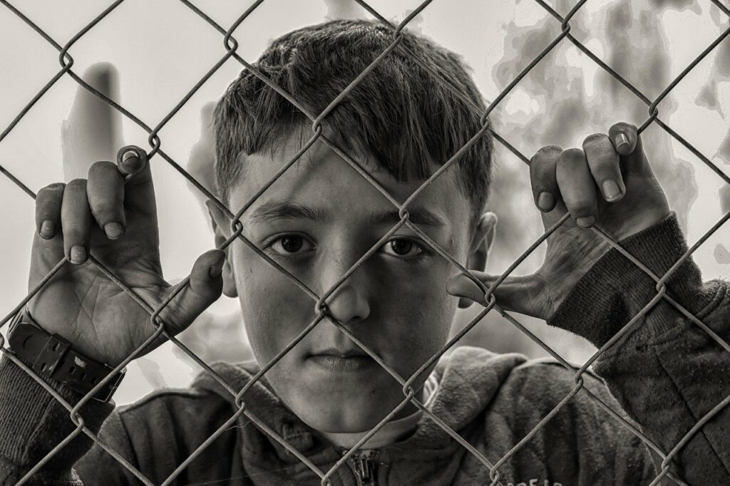 boy, fence, poverty